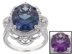 Bella Luce (R) Esotica (Tm) 8.79ctw Alexandrite Simulant & Diamond Simulant Rhodium Over Silver Ring