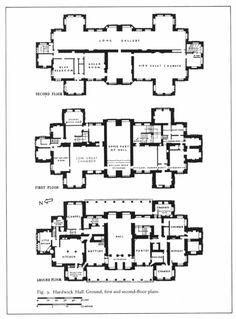 Hardwick Hall - architect Robert Smythson, Derbyshire, England, U. Sims 4 House Building, Sims House Plans, Building Plans, Building Design, Castle Floor Plan, Hall Flooring, Vintage House Plans, Luxury House Plans, Floor Plans