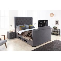 New Slate Grey Winchester TV bed with Storage & USB charging points Grey Bedding, Gray Bedroom, Room Decor Bedroom, Bedroom Ideas, Tv Bed Frame, Tv Beds, Winchester, London House, Dust Mites