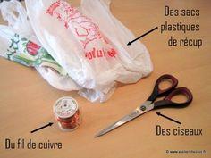 DIY tuto pompon recup' en sacs plastiques recyclés - matériel