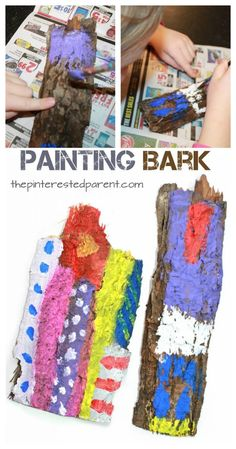 painting bark process art is part of Process art - Painting Bark Process Art Natureart Preschool Process Art Preschool, Preschool Activities, Nature Based Preschool, Preschool Art Lessons, Fall Preschool, Nature Activities, Toddler Activities, Painting Activities, Spring Activities