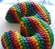 Easy cake using 2 bundt cakes, chocolate frosting and m & m's. will do this for someone's birthday! Preferably a kids birthday 3rd Birthday Cakes, Boy Birthday, Birthday Parties, Rainbow Birthday, Third Birthday, Birthday Ideas, Happy Birthday, Easy Kids Birthday Cakes, Easy Cakes For Kids