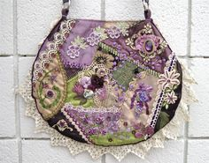 Purse Crazy Quilt Handbag Embroidery Beads by Cathy Kizerian Cathyscrazybydesign on Etsy