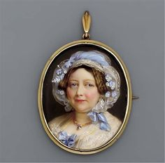 Princess Augusta Sophia (1768-1840), facing left in dress with blue bow at corsage, lace shawl, gold necklace with jewel set pendant, spotted muslin cap with pale blue silk ribbon and forget-me-nots and white flowers in her upswept plaited brown hair By Henry Bone