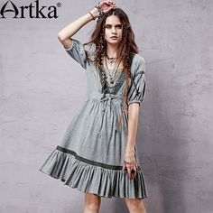 Artka Women's Summer New Vintage Lantern Sleeve Cotton Hollow out Short Sleeve Knee-Length Casual Dress Bohemian Summer Dresses, Spring Dresses, Boho Dress, Abaya Fashion, Women's Fashion Dresses, Boho Fashion, Beach Fashion, Bohemian Mode, Bohemian Style
