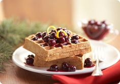 Driscoll's Gingerbread Waffles with Blueberry-Orange Sauce www.driscolls.com