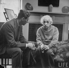 """Einstein and his therapist.    """"Happiness in intelligent people is the rarest thing I know."""" -Hemingway"""