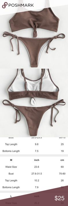 Knot Front Ribbed String Bikini Mocha Bikini with Ribbed detail. Knotted front and string tie bottoms. Hygienic Liner intact. Sized Medium see measurements in photo. Removable cups and adjustable straps. Very cheeky bottoms. Brandless from a boutique, not Brandy Brandy Melville Swim Bikinis