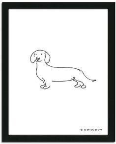 Personal-prints ''Dachshund Line Drawing'' Framed Wall Art