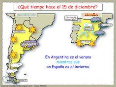 Me encanta escribir en español: ¿Qué tiempo hace en Argentina y en España el 15 de diciembre?