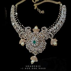 Indian Necklace, Silver Jewellery Indian, Indian Wedding Jewelry, Bridal Jewellery, Silver Jewelry, Diamond Necklace Set, Diamond Jewellery, Silver Market, Jewellery Designs