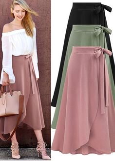 51 Asymmetrical Skirts For Teens - Natürel - Boutiquede Femme Modest Fashion, Hijab Fashion, Diy Fashion, Fashion Dresses, Stylish Dresses, Mode Outfits, Skirt Outfits, Dress Skirt, Midi Skirt