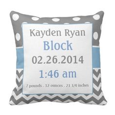 Lovely Blue Grey Personalised Child Announcement Pillow