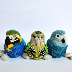 Blue and Gold Macaw, Kakapo, Spix's Macaw - needle felted wool ornaments by Linda Brike