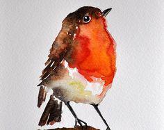 ORIGINAL Watercolor Bird Painting 6x8 inch Bird by ArtCornerShop