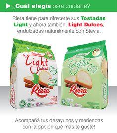 Livianas, sabrosas y saludables. Las Tostadas Light de Riera marcan tendencia! Dos opciones para que vos elijas con cual te quedas, o para que elijas las dos, y no te aburras cuando te cuidas! www.riera.com.ar/stevia