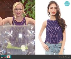 Maddie's purple sheer patterned tank top on Liv and Maddie.  Outfit Details: http://wornontv.net/48631/ #LivandMaddie