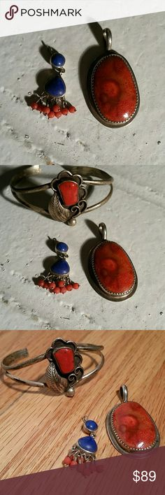 Vintage Coral Lapis Sterling Silver Pendant Charms Very beautiful colors in these vintage sterling silver pieces a small one on the left is coral and Lapis and the one on the right is sponge Coral stamp sterling silver on the back. Bracelet NOT included in this listing although it is posted in my closet for sale Vintage  Jewelry Necklaces