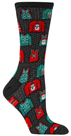 a8465516a46fa Crew length women s socks with adorable little Christmas sweaters on a  black background with little light