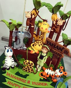 #zoo #jungle #giraffe #elephant #zebra #monkey #lion #tiger #birthday #cake