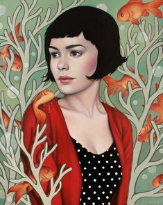 The 'Amelie' inspired 'Quelqu'un à Aimer' by Sarah Joncas, is part of the 'La couleur de l'étrangeté: Jeunet & Caro' ('The Colour of Strangeness: Jeunet & Caro') art show, a tribute to French film-makers, Jean-Pierre Jeunet and Marc Caro. Audrey Tautou, San Fransisco, Art And Illustration, Painting Illustrations, Kelsey Beckett, Spoke Art, Art Gallery, Pop Culture Art, Destin