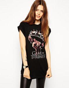 ASOS Boyfriend T-Shirt with Game Of Thrones Print - Black #shirt #offduty #women #covetme #asos