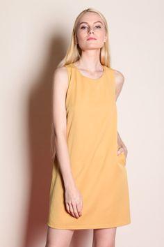 Overwrap Back Dress (Mustard) SGD$ 38.00