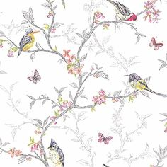 White - 98080 - Phoebe - Birds - Trees - Blossom - Butterflies - Statement - Holden Decor Wallpaper Easy to hang quality paper Holden Decor http://www.amazon.com/dp/B00MBKNYIC/ref=cm_sw_r_pi_dp_h5kBwb0RZKX7F