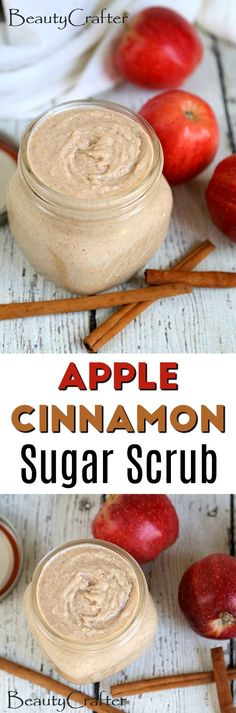 Apple Cinnamon Sugar Scrub recipe - easy fall craft idea - great DIY gift idea Shared by Career Path Design Sugar Scrub Homemade, Sugar Scrub Recipe, Diy Body Scrub, Diy Scrub, Bath Scrub, Bath Soak, Cinnamon Sugar Apples, Apple Cinnamon, Cinnamon Recipe