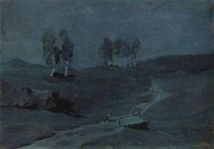 Isaac Levitan (1860 — 1900, Russia) Shadows. Moonlit Night. c. 1885 watercolor.