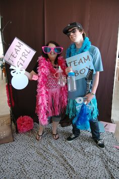 Gender Reveal Party Photo Booth with Team Girl/Team Boy Props
