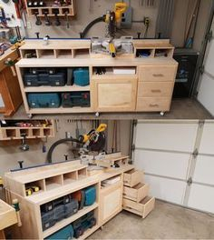 Miter saw stand plan with some personal modifications to meet his needs.   Completed project done by Rockler customer Elijah S. #WoodworkingBench