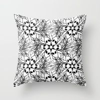 Black and White Flowers Pattern Throw Pillow