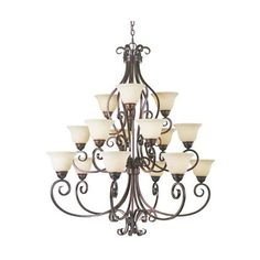 Manor Oil Rubbed Bronze Fifteen-Light Chandelier - dining room lighting??