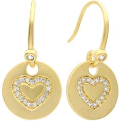 Sterling Essentials Gold Plated Silver Cubic Zirconia Heart Medallion... ($27) ❤ liked on Polyvore featuring jewelry, earrings, yellow, long earrings, drop earrings, cubic zirconia stud earrings, cubic zirconia dangle earrings and cubic zirconia earrings