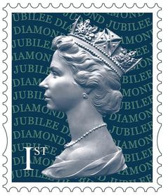 "The Queen's portrait by sculptor Arnold Machin was issued on a stamp by the British Royal Mail in a new color and in a self-adhesive version specifically to celebrate the diamond jubilee. The words ""Diamond Jubilee"" are highlighted in indescent ink."