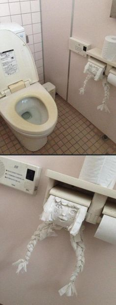 insolite fille papier sculpture toilette visage