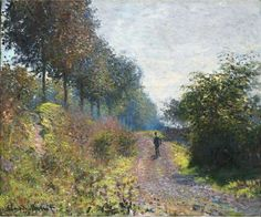 The Sheltered Path by Claude Monet in oil on canvas, done in Now in a private collection. Find a fine art print of this Claude Monet painting. Claude Monet, Pierre Auguste Renoir, Monet Paintings, Landscape Paintings, Artist Monet, Philadelphia Museum Of Art, Philadelphia Pa, Camille Pissarro, Edgar Degas