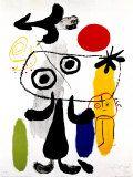 赤い太陽に対峙する人物II, 1950 ポスター : ジョアン・ミロ