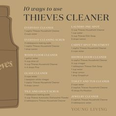 Why buy several bottles of cleaner when you can get one bottle to do it all? Thieves Household Cleaner is a versatile, concentrated solution that provides a spicy scent and a deep clean for any surface! You can create a fresh, clean space using these simple recipes: everyday cleaner, everyday cleaning scrub, wood floor cleaner, glass cleaner, laundry pre-spot, carpet spot treatment, and shower door cleaner. #theives #cleanhome #aromatherapy #essentialoils #diy #recipes #youngliving #yleo Thieves Essential Oil, Essential Oils Cleaning, Household Cleaning Tips, Essential Oil Blends, Cleaning Recipes, Thieves Household Cleaner, Thieves Cleaner, Young Living Oils, Young Living Essential Oils