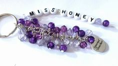 Personalised teacher bag charm with any colour beads - The Supermums Craft Fair