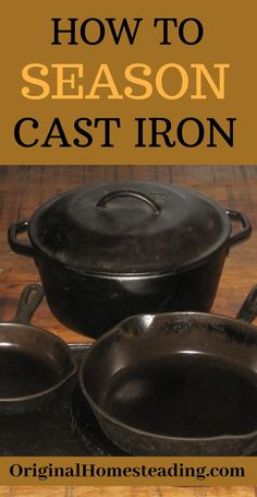 CAST IRON COOKWARE is durable and heavy-duty but it still needs to be taken care of in order to get decades of use. Learn how to properly season cast iron skillets, pans and griddles. Cast Iron Pans will last a lifetime with simple proper care. Season Cast Iron Skillet, Cast Iron Skillet Cooking, Iron Skillet Recipes, Cast Iron Recipes, Skillet Meals, Cast Iron Care, Cast Iron Pot, Cast Iron Dutch Oven, Cast Iron Cookware