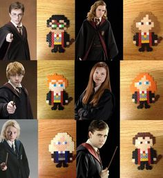 Harry Potter Charaktere Perler Bead Pin/Magnet/Keychain-Handarbeit Harry Potter characters Perler Bead from AnimezingShop on Etsy Hama Beads Design, Diy Perler Beads, Perler Bead Art, Hama Beads Coasters, Ginny Weasley, Hermione Granger, Theme Harry Potter, Harry Potter Diy, Harry Potter Characters
