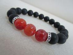 cfc84132d5a9 Agata fuego y Onix matt Pulsera de piedras naturales Pulsera para hombre  Pulsera para mujer Pulsera sanacion Pulsera meditacion Yoga Joyeria