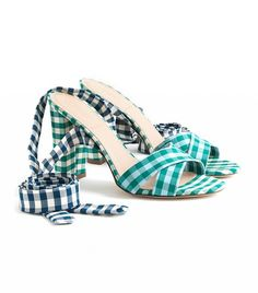2f0ca1dea286 J.Crew Mixed Gingham Sandals With Ankle Wrap Wrap Shoes