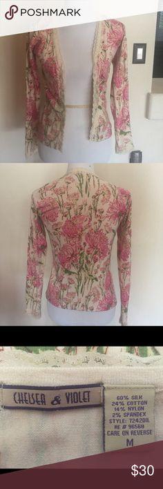 Cardigan Adorable Chelsea & Violet cardigan. No buttons. Lace trim. Never worn. Chelsea & Violet Sweaters Cardigans