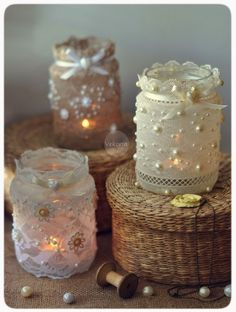 Ideas for home decoration candles mason jars Mason Jars, Mason Jar Gifts, Bottles And Jars, Candle Jars, Mason Jar Candle Holders, Jar Crafts, Bottle Crafts, Diy And Crafts, Lace Candles