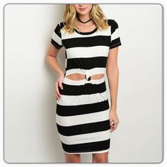 Ivory Black Dress This striped sleeve dress features short sleeves, rounded neckline and a twisted waist detail with cutouts. 92% cotton 8% spandex. Made in USA. Cefian Dresses