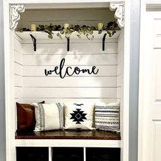 Welcome wood words wood word cut out laser cut wedding Front Closet, Entry Closet, Closet To Mudroom, Garage Entry, Hall Closet, Closet Remodel, Ship Lap Walls, Wooden Wall Art, Porch Decorating