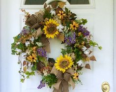 Summer Door Wreath-Cotton Boll Wreath-French Country Wreath-Sunflower Wreath-Rustic Wreath-Country Wreath-Farmhouse Decor-Floral Wreath